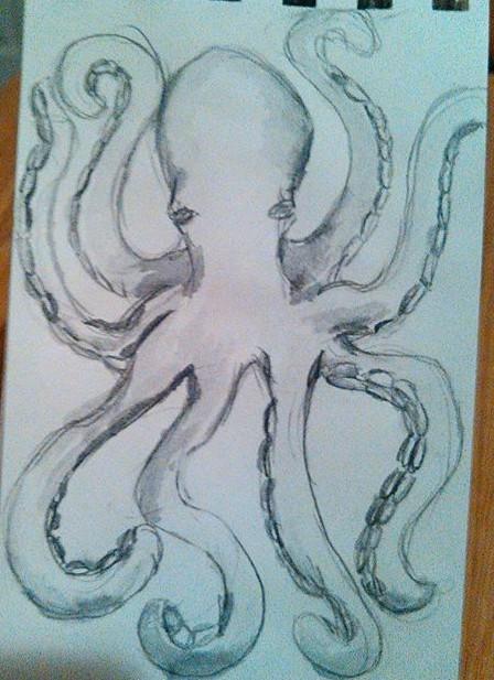 Octopus in Watercolor Graphite